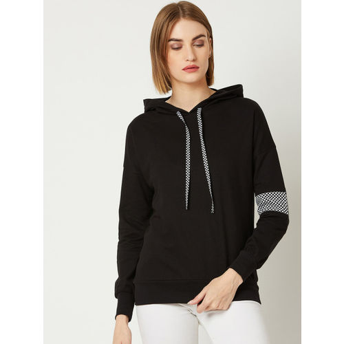 Miss Chase Women Black Solid Hooded Sweatshirt