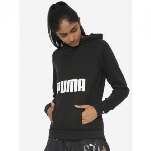 Puma Women Black Printed Fav Hoodie Sweatshirt