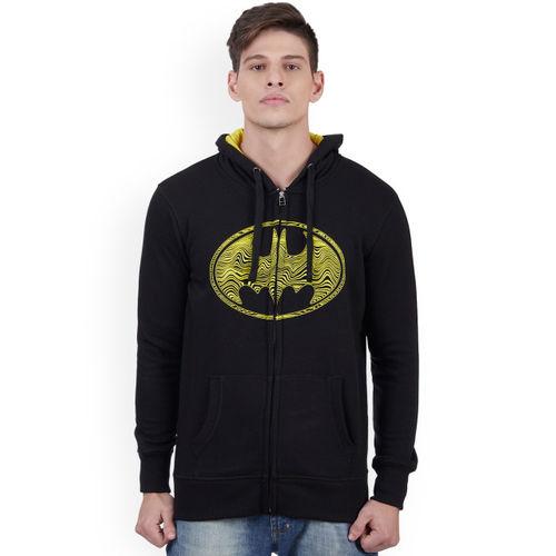 Free Authority Batman Men Black Printed Hooded Sweatshirt