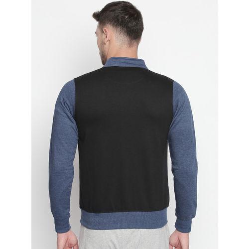FiTZ Men Black Colourblocked Sweatshirt