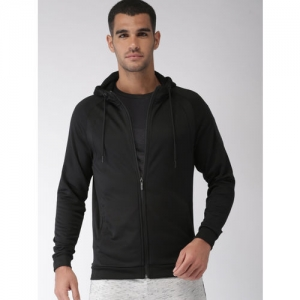 Kappa Men Black Solid Hooded Sweatshirt