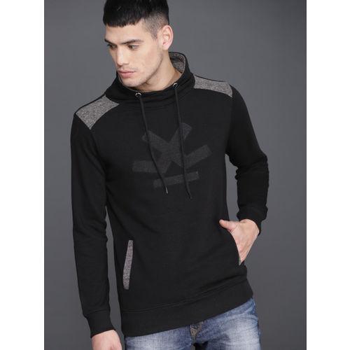 WROGN Men Black Slim Fit Printed Sweatshirt