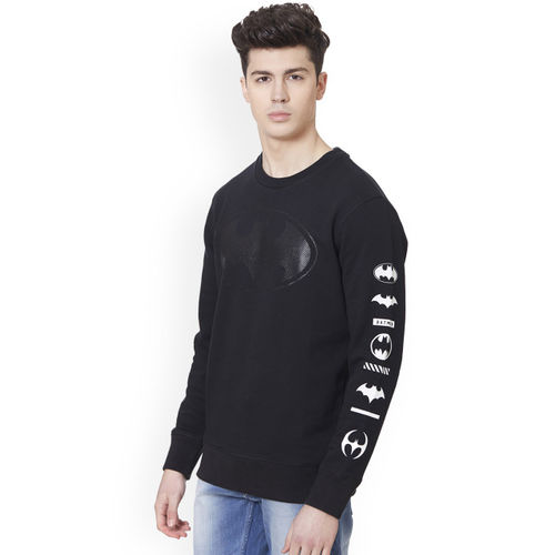 Free Authority Men Black Batman Printed Sweatshirt