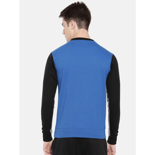 Proline Active Men Black & Blue Colourblocked Sweatshirt