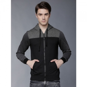 HIGHLANDER Men Black & Grey Colourblocked Hooded Sweatshirt