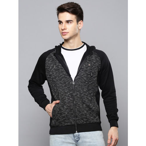 Louis Philippe Jeans Men Black Self Design Hooded Sweatshirt