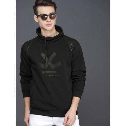 WROGN Men Black Printed Hooded Sweatshirt