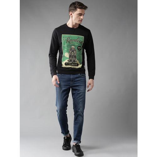 Flying Machine Men Black & Green Printed Sweatshirt