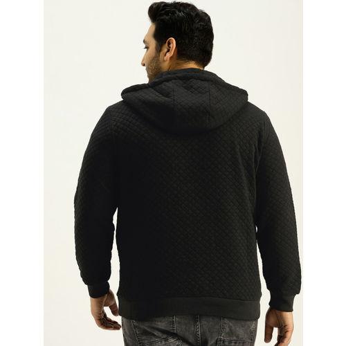 Sztori Men Black Quilted Hooded Sweatshirt