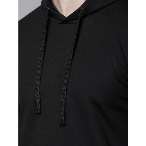 HIGHLANDER Men Black Solid Hooded Sweatshirt