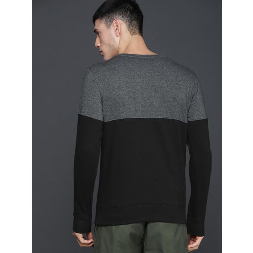 WROGN Men Black & Grey Colourblocked Sweatshirt