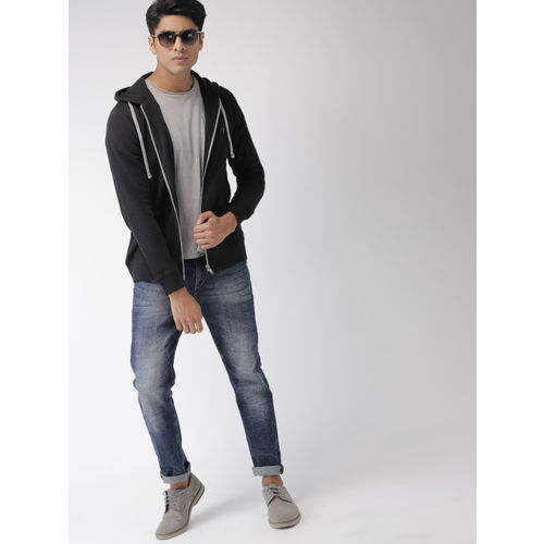 Indian Terrain Men Black Solid Hooded Sweatshirt