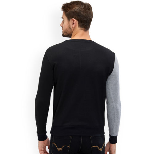 Maniac Men Black & Grey Colourblocked Sweatshirt