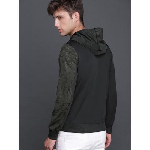 WROGN Men Black & Olive Green Printed Sweatshirt