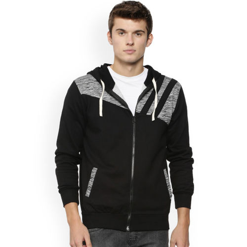 Campus Sutra Men Black & Grey Solid Hooded Sweatshirt