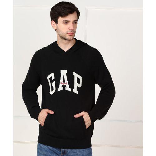 GAP Self Design Round Neck Casual Men Black Sweater