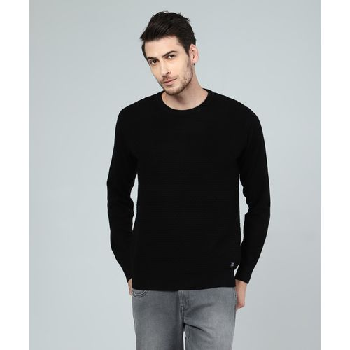 Indian Terrain Self Design Round Neck Casual Men Black Sweater
