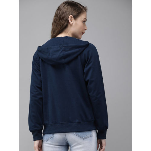 Roadster Women Navy Blue Solid Hooded Sweatshirt