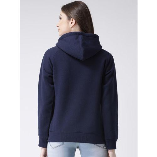 Club York Women Navy Blue Printed Hooded Pullover Sweatshirt