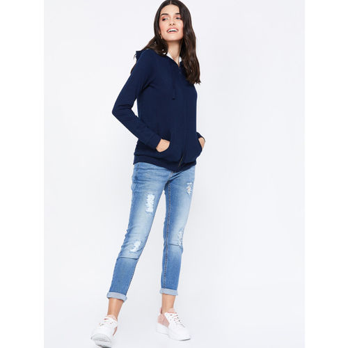 Fame Forever by Lifestyle Women Navy Blue Solid Hooded Sweatshirt
