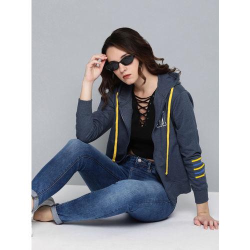 Minions by Kook N Keech Women Navy Blue Melange Printed Hooded Sweatshirt