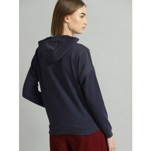 Roadster Women Navy Blue Printed Hooded Sweatshirt