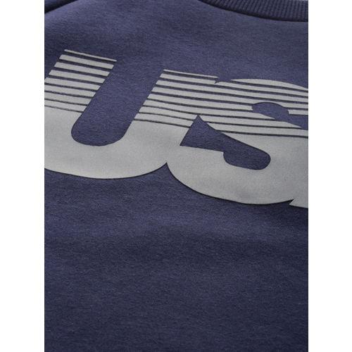 Superdry Women Navy Blue Printed GYM TECH USA Crop Sweatshirt