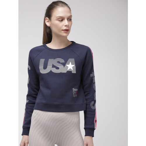 Superdry Women Navy Blue Printed GYM TECH USA Crop Sweatshirt