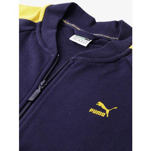 Puma Women Navy Blue & Yellow Printed Classics Logo T7 Track Sweatshirt