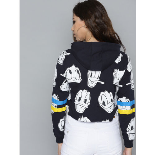 Kook N Keech Disney Women Navy Blue & White Donald Duck Printed Cropped Hooded Sweatshirt