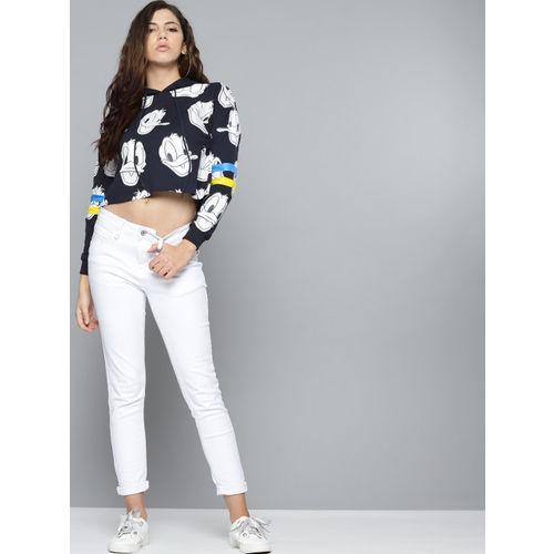 Kook N Keech Disney Women Navy Blue & White Donald Duck Printed Cropped Hooded Sweatshirt