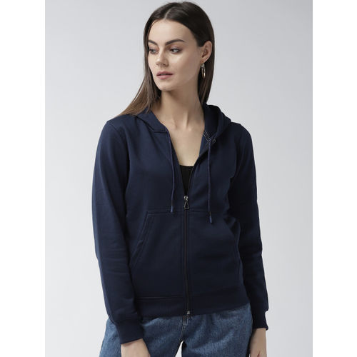 Fort Collins Women Navy Blue Solid Hooded Sweatshirt