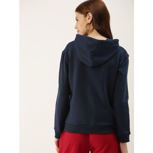 NUSH Women Navy Blue Printed Hooded Sweatshirt