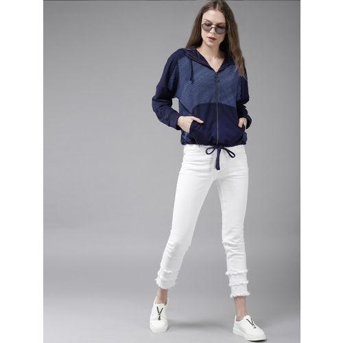 Roadster Women Navy Blue Printed Hooded Sweatshirt