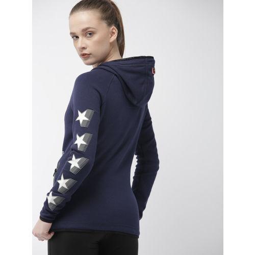 Superdry Women Navy Blue Printed Hooded Sweatshirt