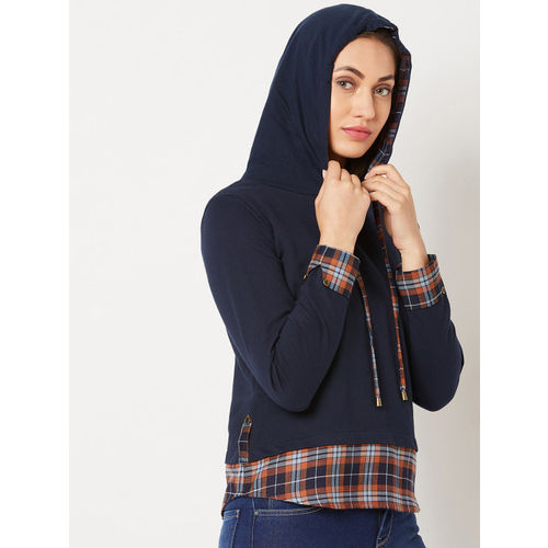 Miss Chase Women Navy Blue Checked Hooded Sweatshirt