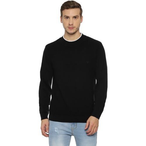 Allen Solly Self Design Crew Neck Casual Men Black Sweater