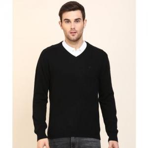 United Colors of Benetton Self Design V Neck Casual Men Black Sweater