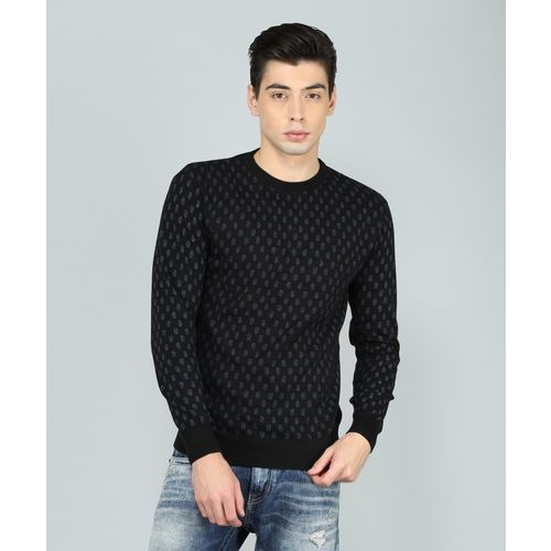 Indian Terrain Printed Round Neck Casual Men Black Sweater