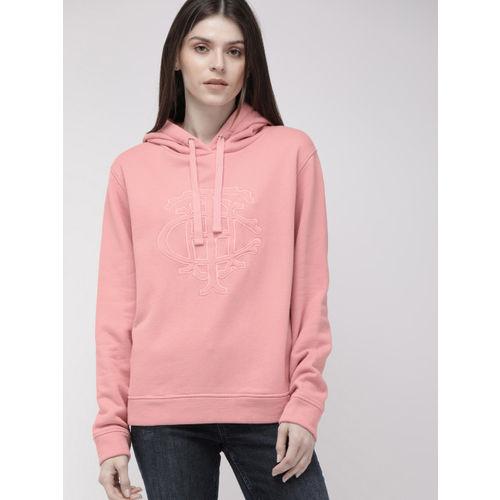Tommy Hilfiger Women Pink Self-Design Hooded Sweatshirt