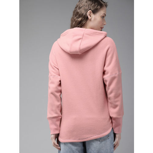 Roadster Women Pink Solid Hooded Sweatshirt
