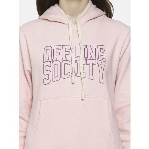 Campus Sutra Women Pink Printed Hooded Sweatshirt