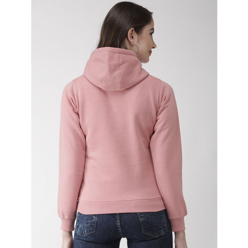 Okane Women Dusty Pink & Black Printed Hooded Sweatshirt
