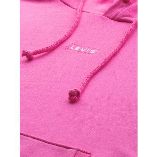 Levis Women Pink Solid Hooded Sweatshirt