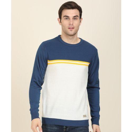 Peter England University Self Design Round Neck Casual Men White, Blue Sweater
