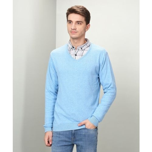 Peter England Solid V-neck Casual Men Blue Sweater