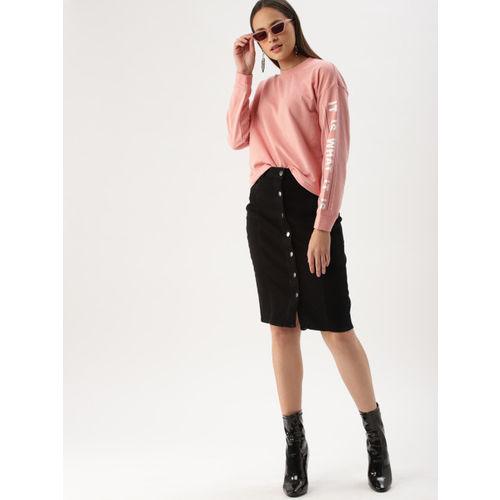 DressBerry Women Pink Solid Sweatshirt