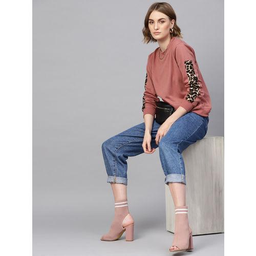 SASSAFRAS Women Dusty Pink Solid Sweatshirt