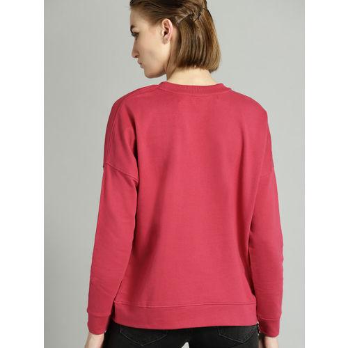 Roadster Women Pink Striped Detail Sweatshirt
