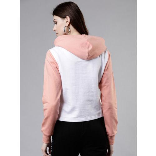 Tokyo Talkies Women Pink & White Printed Hooded Sweatshirt